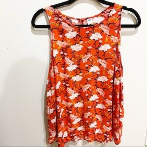 Orange and floral print Old Navy sleeveless blouse